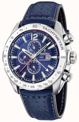 Festina | chronographe et double fuseau | cadran bleu | bracelet en cuir F20440/2