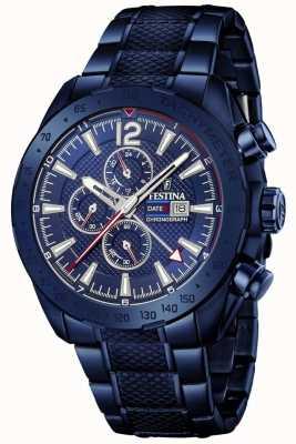Festina | chronographe pour homme plaqué bleu | bracelet en acier inoxydable | F20442/1