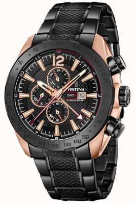 Festina | chronographe pour homme plaqué blackrose | bracelet en acier | F20481/1