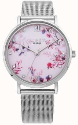 Lipsy | bracelet en maille d'argent pour femme | cadran floral rose pâle | LP643