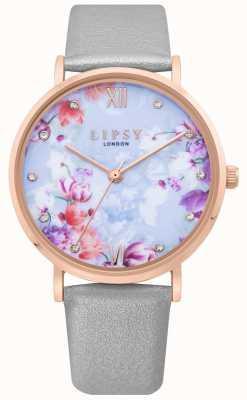Lipsy | bracelet en cuir gris pour femme | cadran floral bleu pâle | LP657