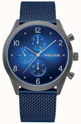 Police | étui à armes pour hommes bleu multi cadran | bracelet maille bleu | 15922JSU/03MMBL