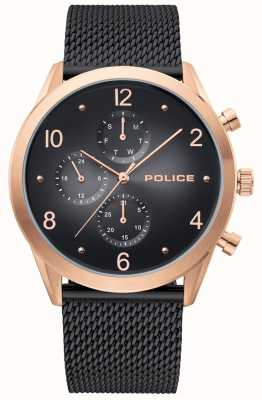 Police | boitier homme en or rose | bracelet en filet noir | noir multi-cadran 15922JSR/02MMB