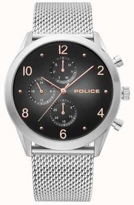 Police | bracelet en maille d'argent pour hommes | noir multi-dial | 15922JS/02MM
