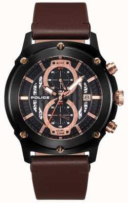 Police | Mens Lulworth | bracelet en cuir marron | noir multi-dial | 15917JSB/02A