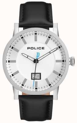 Police | montre mens collin | bracelet en cuir noir | cadran argenté | 15404JS/01