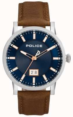 Police | montre mens collin | bracelet en cuir marron | cadran bleu | 15404JS/03
