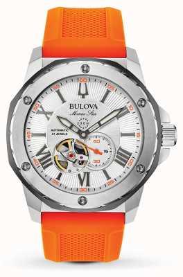Bulova Bracelet automatique étoile marine en caoutchouc orange pour homme 98A226