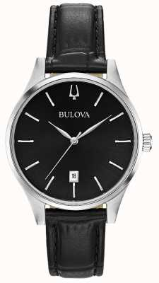 Bulova Montre femme en cuir noir 96M147