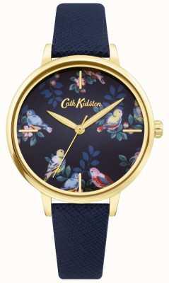 Cath Kidston | bracelet en cuir bleu | cadran floral bleu | CKL069UG