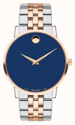 Movado Bracelet pour homme deux tons en acier inoxydable avec cadran bleu 0607267