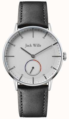 Jack Wills | mens batson ii | bracelet en cuir noir | cadran blanc | JW002SLBK