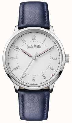 Jack Wills | connaissance des femmes | bracelet en cuir bleu | cadran blanc | JW017WHNV
