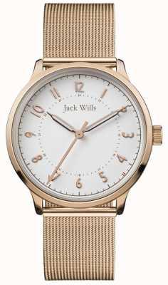 Jack Wills | connaissance des femmes | maille en or rose | cadran blanc | JW017WHRS