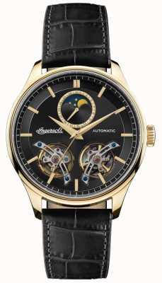 Ingersoll | mens la corde | bracelet en cuir noir | cadran noir | I07202