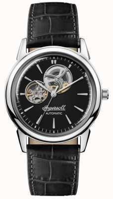 Ingersoll | mens le nouveau refuge | bracelet en cuir noir | cadran noir | I07302
