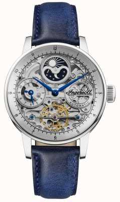 Ingersoll | les hommes le jazz | bracelet en cuir bleu | cadran squelette | I07702