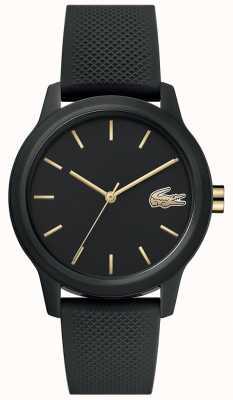 Lacoste 12.12 femmes | bracelet en silicone noir | cadran noir | 2001064