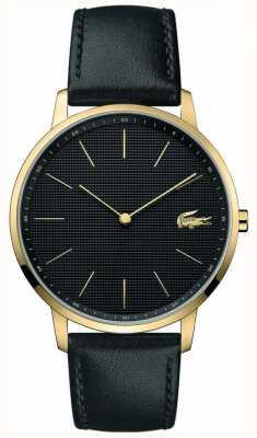Lacoste   mens moon   bracelet en cuir noir   cadran noir   2011004
