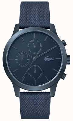 Lacoste | hommes 12-12 | bracelet en cuir bleu | cadran bleu | 2010998