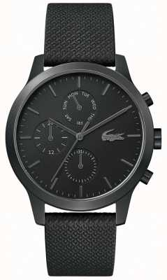 Lacoste | hommes 12-12 | bracelet en cuir noir | cadran noir | 2010997