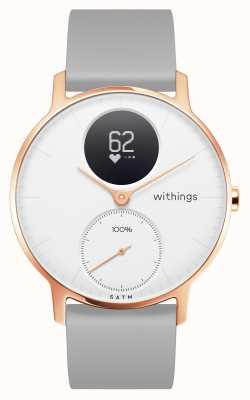 Withings Acier HR 36 mm or rose cadran blanc bracelet en silicone gris HWA03B-36WHITE-RG-S.GREY-ALL-INTER