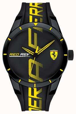 Scuderia Ferrari | mens redrev | bracelet en caoutchouc noir | cadran noir | 0830615