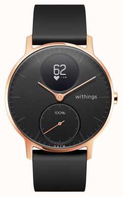 Withings Bracelet en silicone noir avec cadran noir et bracelet en or rose hr 36mm HWA03B-36BLACK-RG-S.BLACK-ALL-INTER