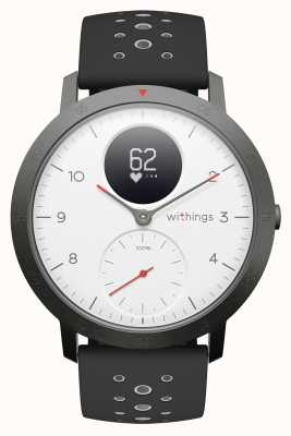 Withings Bracelet en silicone noir avec cadran blanc, cadran blanc, 40 mm HWA03B-40WHITE-SPORT-ALL-INTER