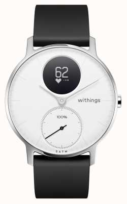 Withings Bracelet en silicone noir, cadran blanc, acier, hr 36mm HWA03B-36WHITE-ALL-INTER
