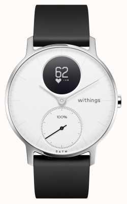 Withings Acier HR 36 mm cadran blanc bracelet en silicone noir HWA03-36WHITE-ALL-INTER