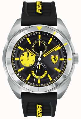 Scuderia Ferrari | mens forza | bracelet en caoutchouc noir | cadran noir / jaune | 0830575