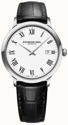 Raymond Weil | toccata mens | bracelet en cuir noir | cadran blanc | 5485-STC-00300