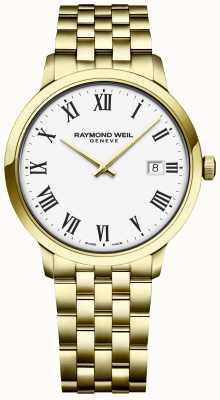 Raymond Weil | toccata pour hommes | bracelet en acier inoxydable or | cadran blanc 5485-P-00300