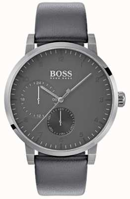 Boss Bracelet en cuir gris oxygène pour homme avec cadran gris 1513595