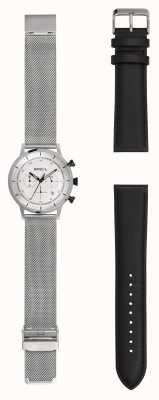 Breil | montre en maille d'acier inoxydable messieurs | bracelet en cuir supplémentaire | TW1806