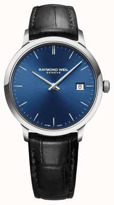 Raymond Weil Bracelet en cuir noir avec cadran bleu pour hommes 5485-STC-50001