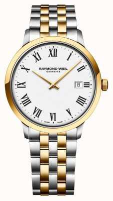 Raymond Weil Bracelet en acier inoxydable bicolore avec cadran blanc pour hommes 5485-STP-00300
