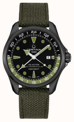 Certina Mens DS Action GMT Powermatic 80 Bracelet Vert Cadran Noir C0324293805100