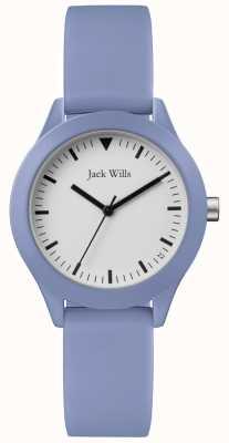 Jack Wills | bracelet en caoutchouc bleu dames | cadran blanc | JW008LTBL