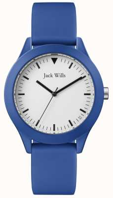 Jack Wills | bracelet en caoutchouc bleu homme | cadran blanc | JW009BTBL