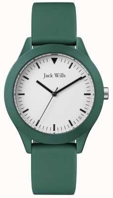 Jack Wills | bracelet en caoutchouc vert homme | cadran blanc | JW009GRGR