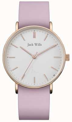 Jack Wills | bracelet en silicone rose dames sandhill | cadran blanc | JW018WHPK