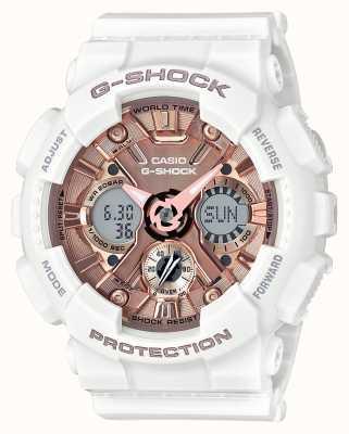 Casio | g-shock blanc et or rose | analogique et numérique | GMA-S120MF-7A2ER