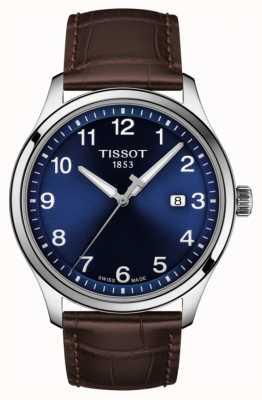 Tissot | mens xl | cadran bleu | bracelet en cuir marron | T1164101604700