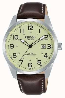 Pulsar Bracelet en cuir marron solaire sport pour homme PX3165X1