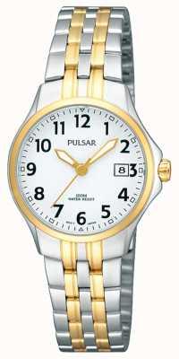Pulsar Bracelet deux tons pour femme en acier inoxydable avec cadran blanc PH7222X1