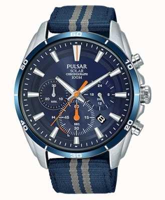 Pulsar Bracelet chronographe en nylon bleu pour homme avec cadran bleu PZ5089X1