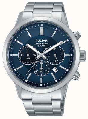 Pulsar Mens chronographe cadran bleu en acier inoxydable PT3741X1