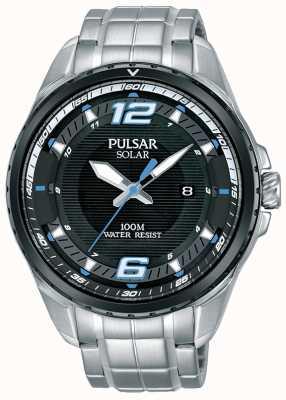 Pulsar Bracelet solaire homme en acier inoxydable cadran noir PX3127X1